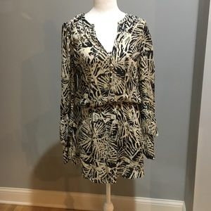 Parker silk palm leaf print dress